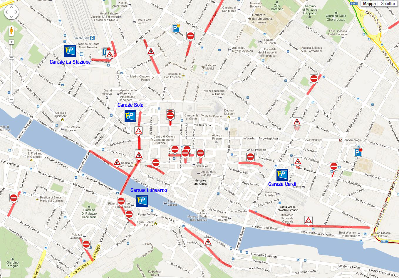 Mappa centro Firenze - Florence Parking