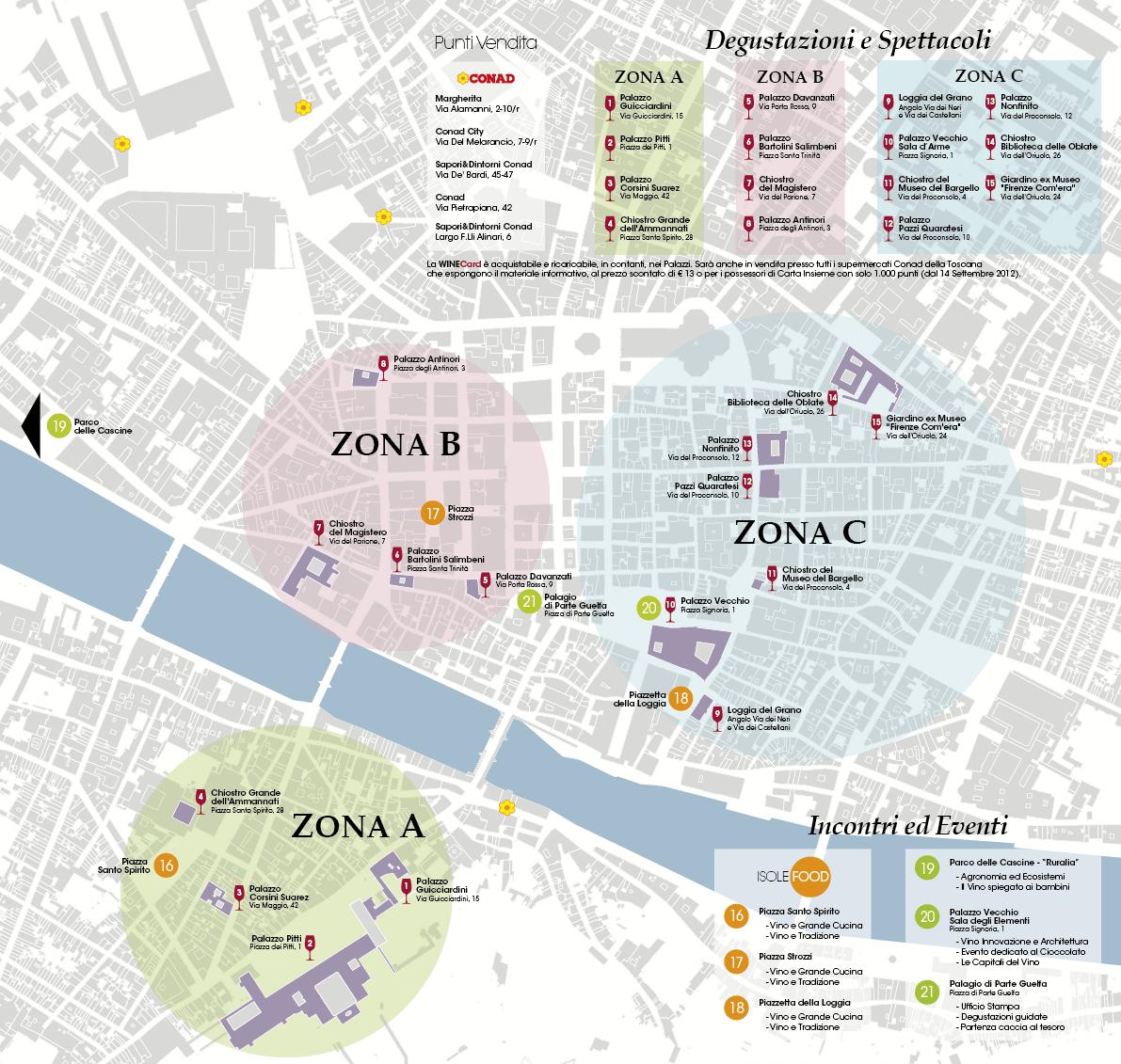 Firenze Cartina Centro Storico.Mappa Winetown Con Parcheggi Florence Parking Florence Parking Parcheggiare A Firenze