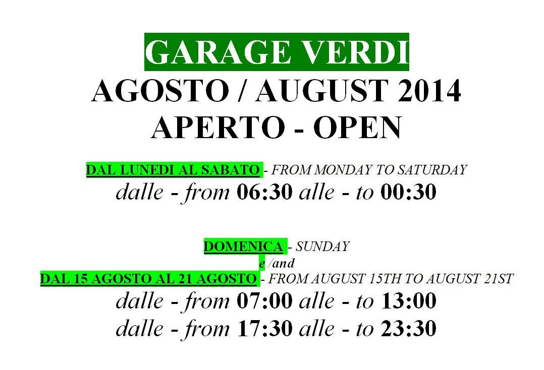 Nuovo orario estivo per il Garage Verdi
